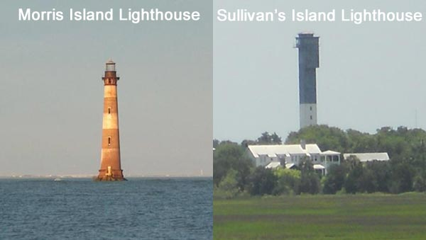 Moris Island Lighthouse and Sullivan's Island Lighthouse